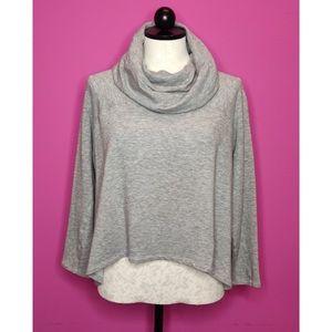 Eileen Fisher Grey Cowl Crop Sweatshirt Top Medium